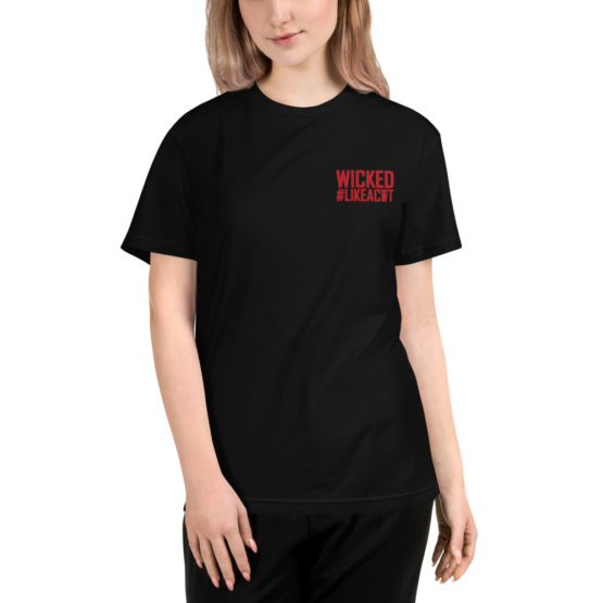 wicked like a cat eco t-shirt woman black