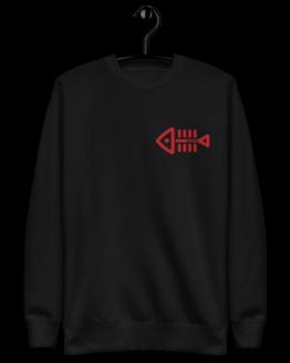 fish nomo fleece pullover front black