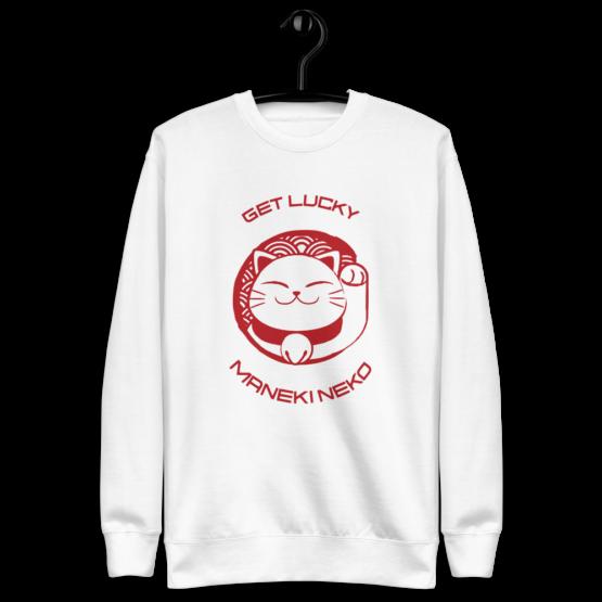 prosperity cat get lucky fleece pullover hanging white