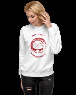 prosperity cat get lucky fleece pullover woman white