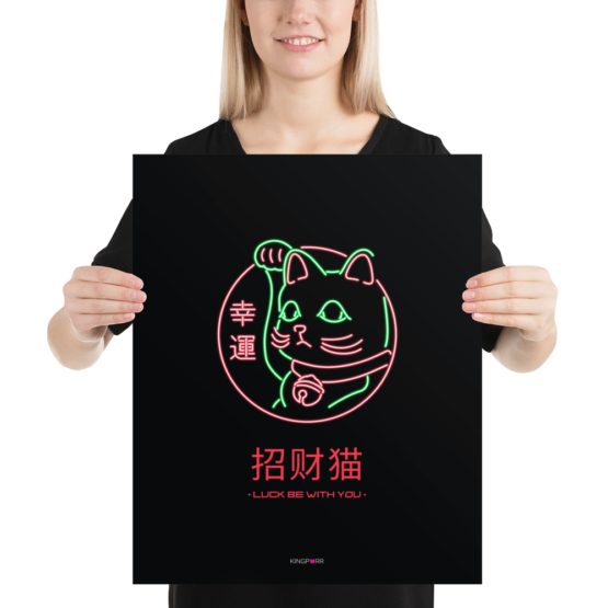 neon lucky cat poster 16x20 person