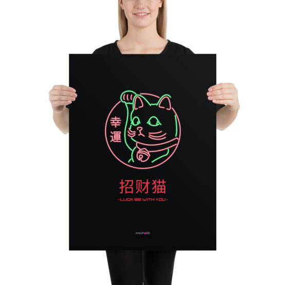 neon lucky cat poster 18x24 person