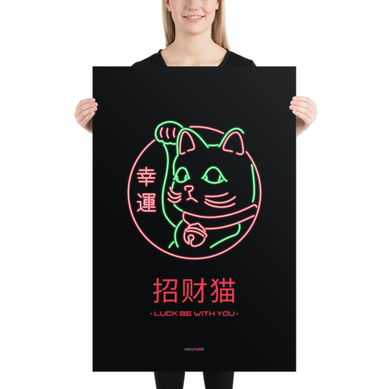 neon lucky cat poster 24x36 person