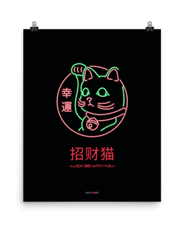neon lucky cat poster 16x20 wall