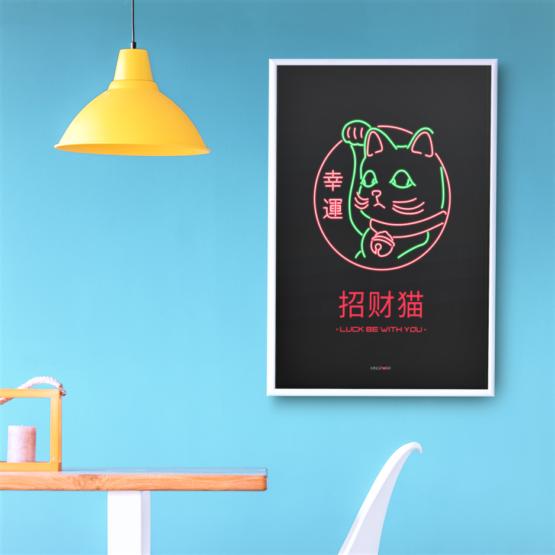 neon lucky cat poster tn