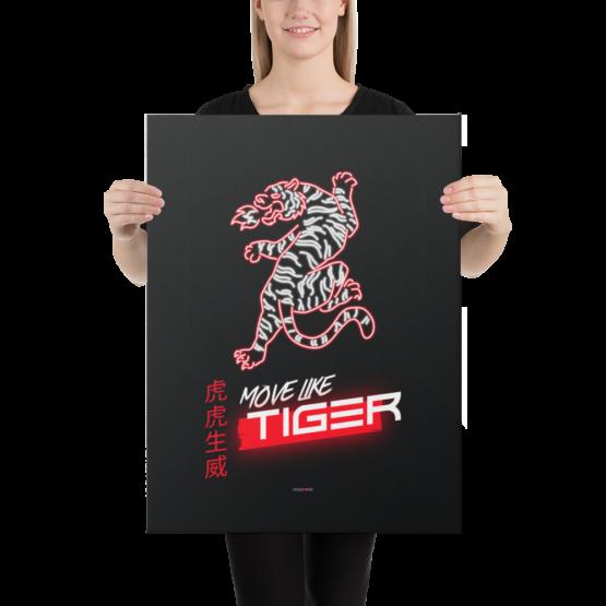move like tiger canvas 18x24 woman