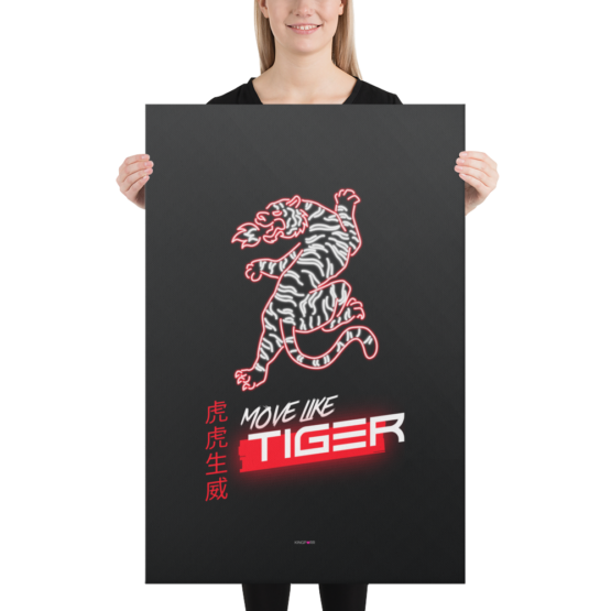 move like tiger canvas 24x36 woman