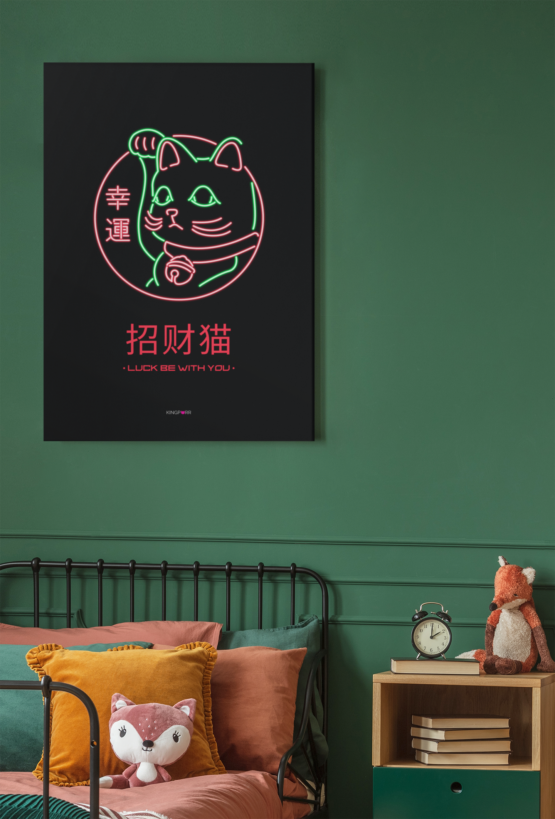 lucky cat canvas by kingpurr wall art