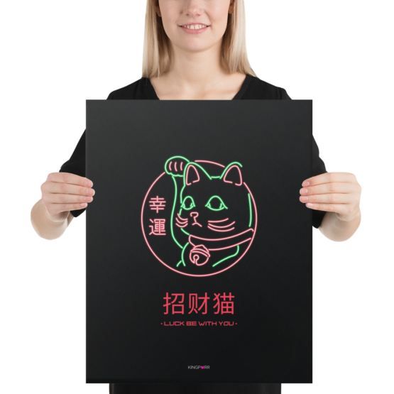 lucky cat canvas 16x20 woman