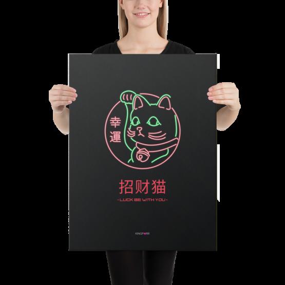 lucky cat canvas 18x24 woman