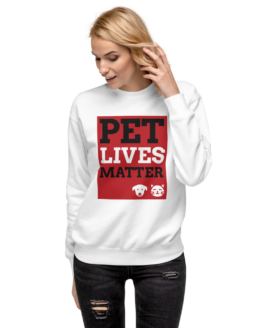 pet lives matter white pullover woman