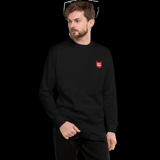 cat dad fleece pullover man black