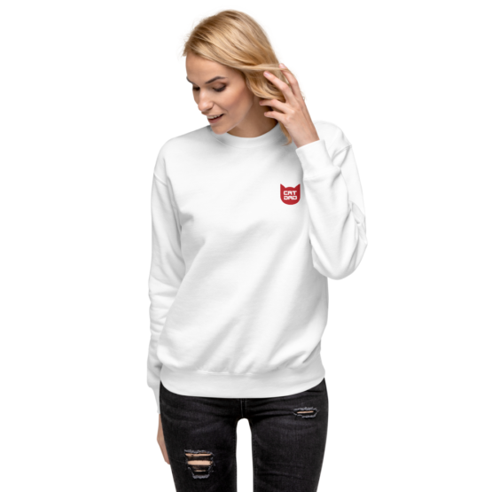 cat dad fleece pullover woman white