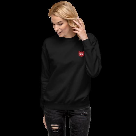 cat mom fleece pullover woman black