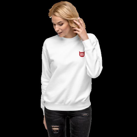 cat mom fleece pullover woman white
