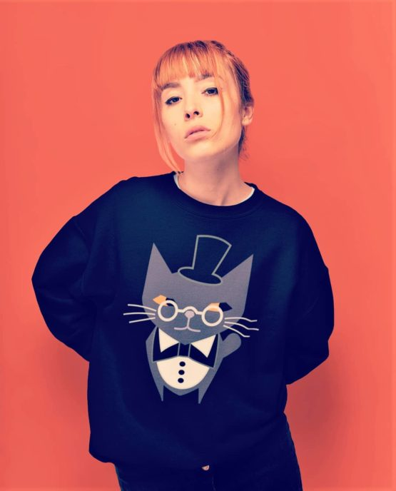 fancy judgemental cat fleece pullover insta