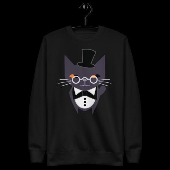 fancy judgemental cat fleece pullover black wall