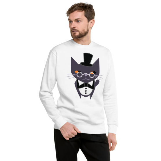 fancy judgemental cat fleece pullover white man