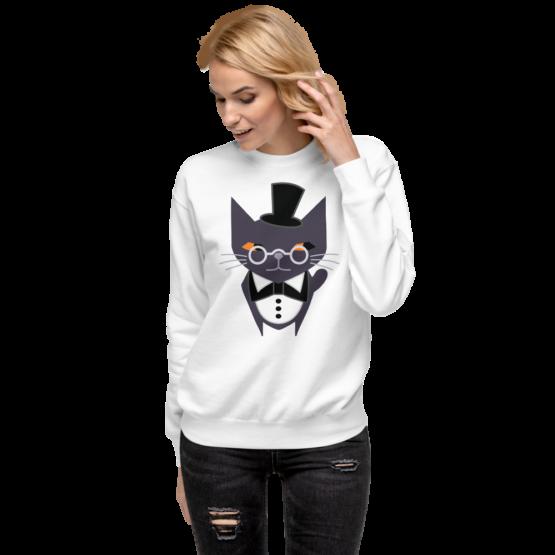 fancy judgemental cat fleece pullover white woman