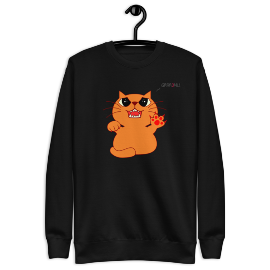hungry growling cat fleece pullover black hanged