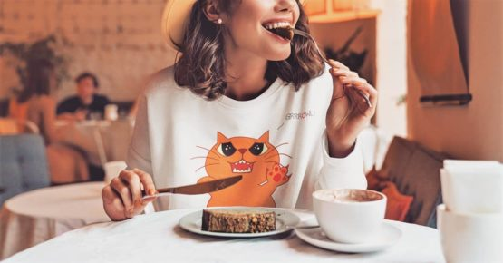 hungry growling cat fleece pullover brunch