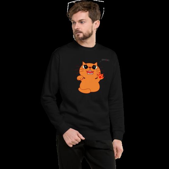 hungry growling cat fleece pullover black man