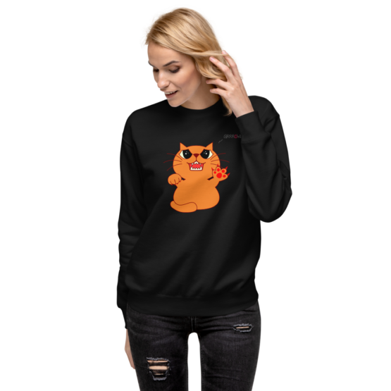 hungry growling cat fleece pullover black woman