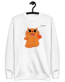 hungry growling cat fleece pullover white hanged