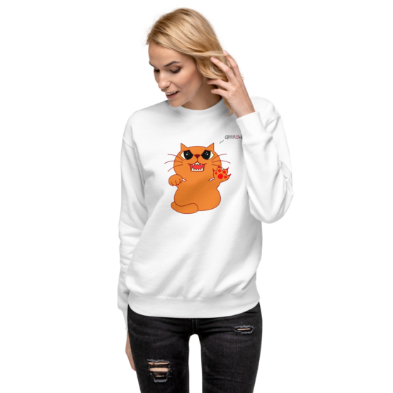 hungry growling cat fleece pullover white woman