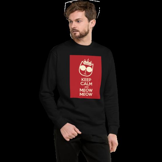 keep calm and meow meow fleece pullover man black
