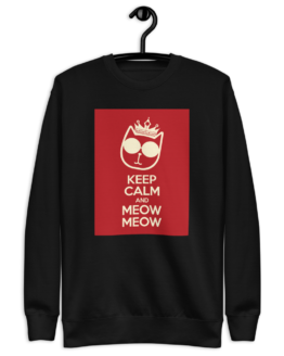 keep calm and meow meow fleece pullover hanging black