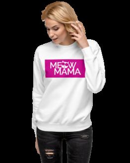 meow mama fleece pullover woman white