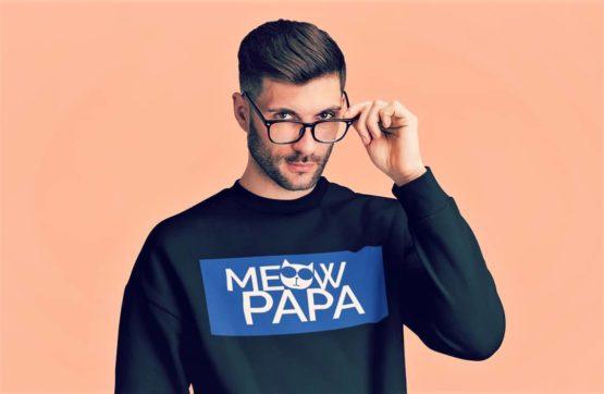 meow papa fleece pullover insta
