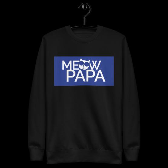 meow papa fleece pullover hanging black