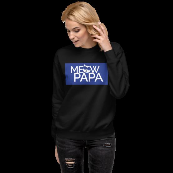 meow papa fleece pullover woman black