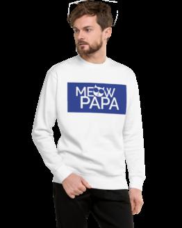 meow papa fleece pullover man white
