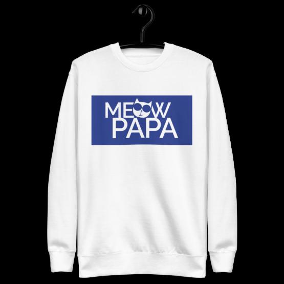 meow papa fleece pullover hanging white