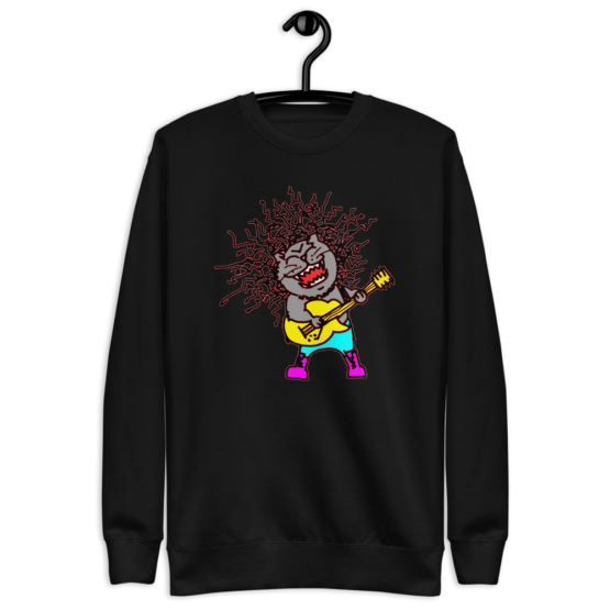 rock and meow fleece pullover hanging black