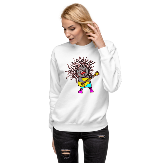 rock and meow fleece pullover woman white