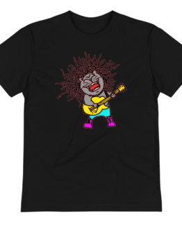rock n' meow eco t-shirt wrinkled black