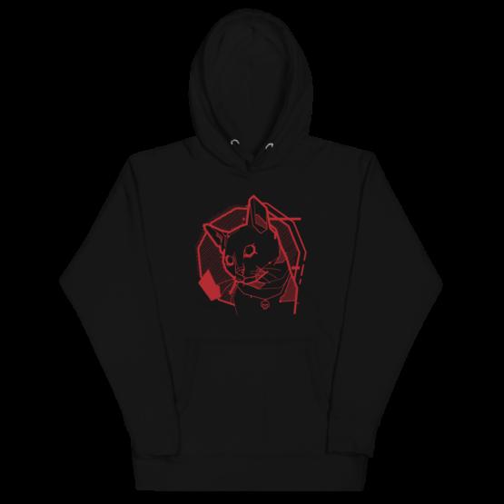 the feline premium hoodie wrinkled black