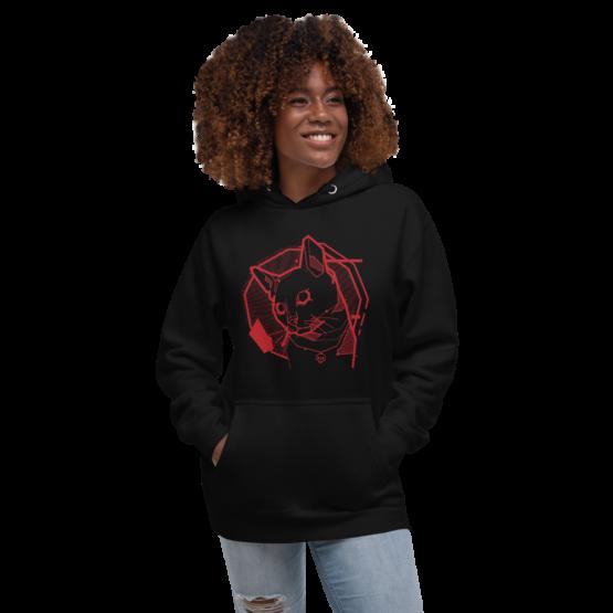 the feline premium hoodie woman black