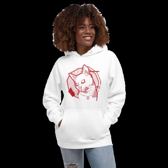 the feline premium hoodie woman white
