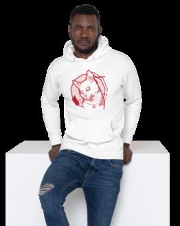 the feline premium hoodie man white