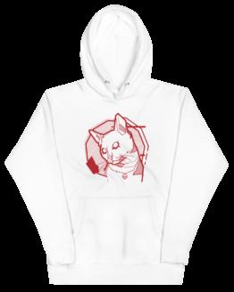 the feline premium hoodie wrinkled white