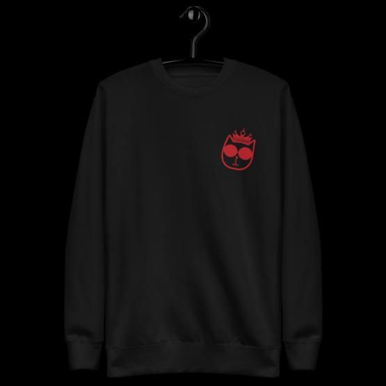 king cat fleece pullover hanging black
