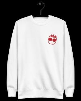 king cat fleece pullover hanging white
