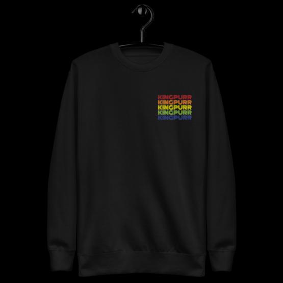 kingpurr pride fleece pullover hanging black