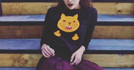 rude cat fleece pullover insta