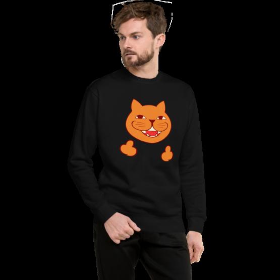 rude cat fleece pullover man black